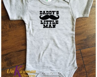 Daddy's Little Man w/Mustache Snap Tee for boys Baby Shower Gift