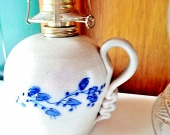 Salmon Falls Pottery Oil Lamp ~ Adorned With Hand-Painted Blueberries And Vines With Large Leaves