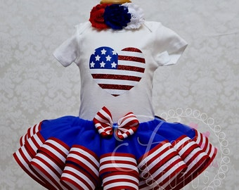 Fourth of July Tutu Outfit, Patriotic Tutu Outfit, Fourth of July Dress, Girls Red White and Blue Outfit, American Flag Outfit