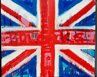 Art Painting of Union Jack Flag by Matt Pecson British Flag Art United Kingdom Union Jack Decor Red White and Blue Decor MADE TO ORDER
