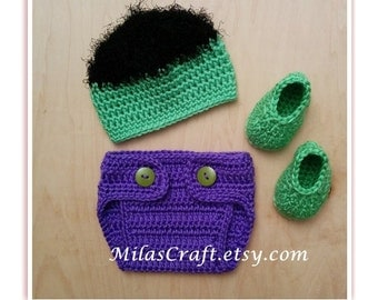 Mix and Match! Incredible Hulk Crochet Baby Boy Set:Hat,Diaper Cover,Booties, Newborn Coming Home Outfit, Baby Shower Gift, Gift, Photo Prop
