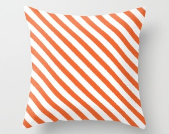 Orange Striped Pillow, Orange Decorative Pillow, Velveteen Pillow Cover, Dorm Pillow, Teen Pillow, Girls Pillow, Gifts for Her, Orange