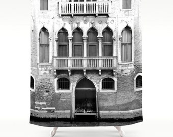 Italy Shower Curtain, Venice Shower Curtain, Photo Shower Curtain, Italy Decor, Black and White Italy Photography, Housewarming  Gifts