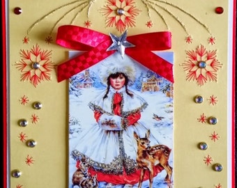 embroidered card, little Russian girl and forest animals