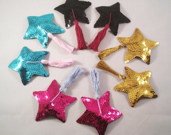 Sequin Covered, Star Shaped Nipple Tassels or Pasties. Various Colours.