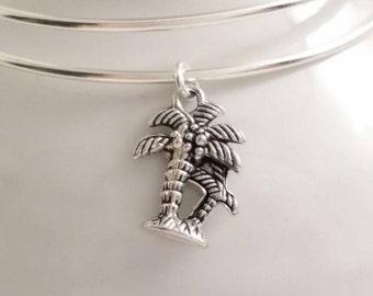 Tropical palm trees bangle bracelet
