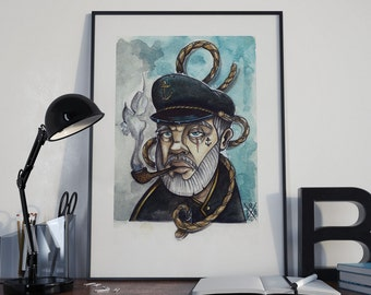 POSTER A3(11,4x16,5 in) old school tattoo sailor watercolor