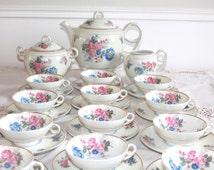 Limoges Tea Set, Limoges Porcelain, Limoges China, Limoges Cup, Limoges Teacup, Limoges Teapot,French Coffee Pot, 1930, Bernardaud Limoges