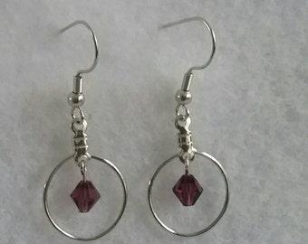 Petite hoop purple bicone earrings