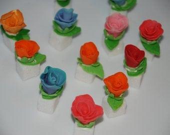 24 Floral Fondant Sugar Cubes