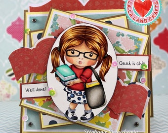 Student girl with books card