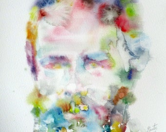 HERMAN MELVILLE - original watercolor portrait - one of a kind!
