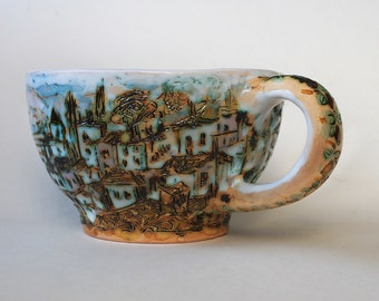 Ceramic unique soup mug handmade, coffee mug, favorite mug Hand painted, textured rustic mug, cappuccino cup