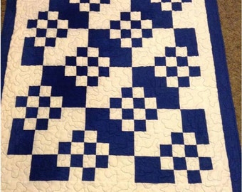 Squared Blue - A baby quilt