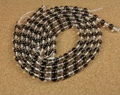 Smokey Quartz and Clear Quartz Round Beads - Grey and Clear Smooth Transparent Beads, 8mm, 16 inch strand