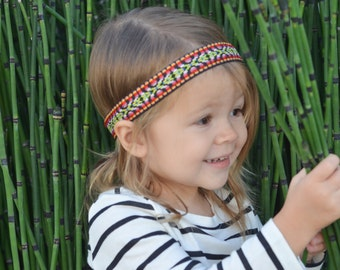 Bohemian Headband - Colorful Tribal Print - Newborn to Adult Sizes - Elastic back to keep snug - Simple style, great for any outfit!