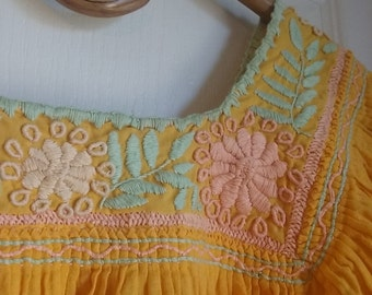 70's Mexican embroidered gauze pheasant crop top