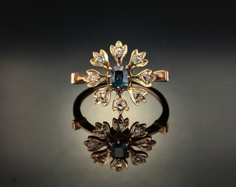 RESERVED!!! Art Deco natural sapphire and diamond antique flower cluster daisy ring