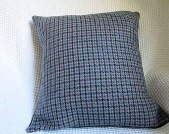 Tweedy cushion cover.  High quality fabric.  Hand made.  Green, pink, aubergine.