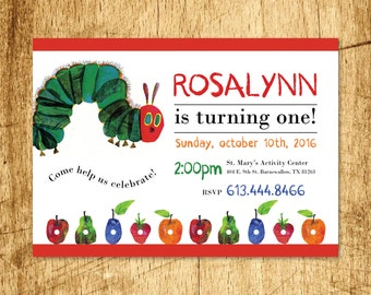 "Very Hungry Caterpillar Birthday Invitation  |  Custom Invitation  |  Printable Digital Download  |  5x7"""