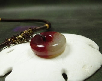 Huge Jade Ring Necklace/ Dyed Red Natural Jade Pendant/ hand knotted silk cord adjustable
