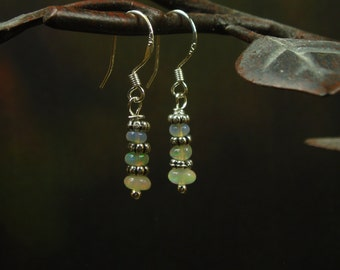 Natural Ethiopian Opal Earrings/ Sterling Silver Opal Dangling Earrings