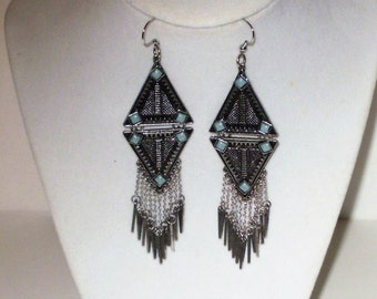 Tribal Earrings, Tribal Jewelry, Boho Jewelry, Boho Earrings, Aztec Jewelry, Aztec Earrings, Statement Jewelry, Egyptian, J'NING Jewelry,