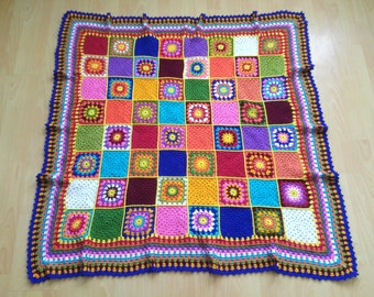 Croched blanket Quilt throw Baby home decor Colorful blanket Granny square afghan Bedspread cover Multicolored blanket Crochet baby gift