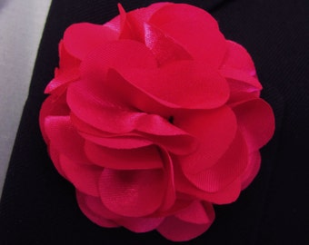 Red Silk Flower Boutonniere With 2 Inch Stick Lapel Pin