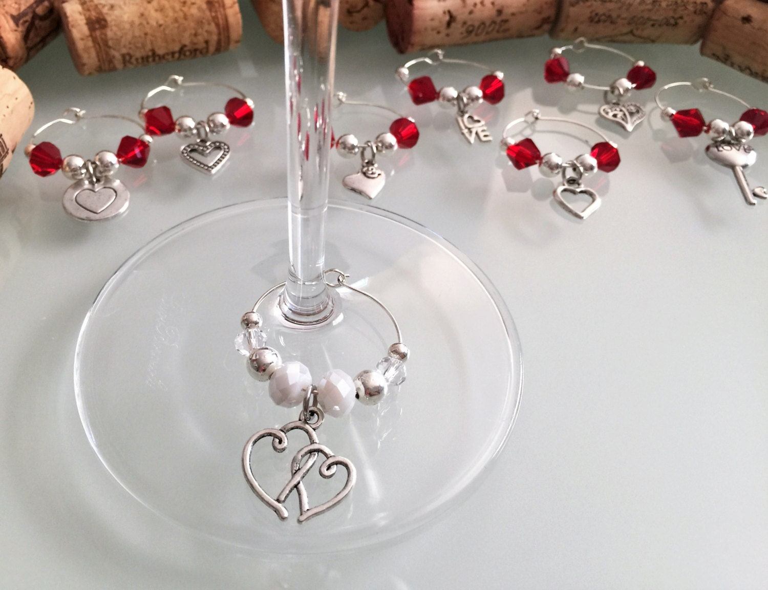 bridal shower favors wine glass charms set of 8