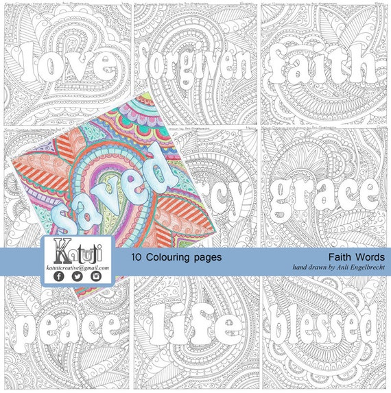 Coloring Pages For Adults Faith Words Theme Instant Download