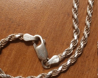Vintage Italian Sterling Silver Rope Necklace Chain
