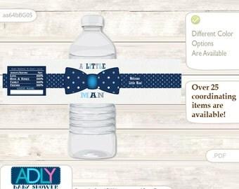 Boy Bowtie Baby Shower Water Bottle Wrappers, water Label, - it's a Boy Blue Grey, Polka - aa64bBG5