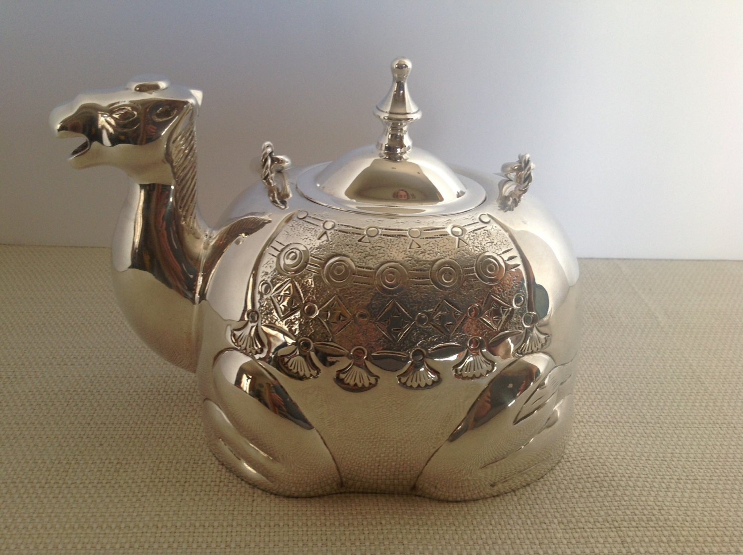 Vintage Pottery Barn Silver Plated Camel Teapot