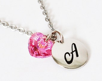 Pink Birthstone Necklace, Girls Necklace, October Pink Jewelry for Girls, Letter Necklace, Initial Necklace, Stainless Steel