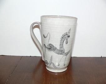 Mid Century Pottery Edwin and Mary Scheier Zebra  Pottery Mug