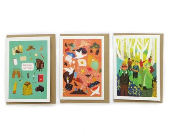 Bird Life Greeting Card Collection – Set of 8 Cards - Bird Illustrations