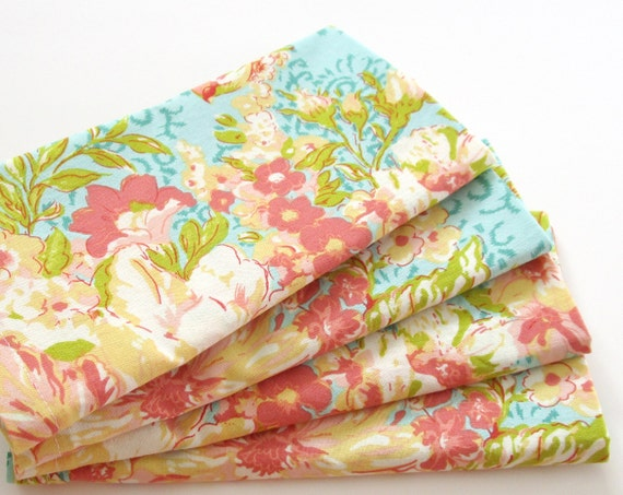Large Cloth Napkins Set Of 4 Coral Pink Orange Teal Blue