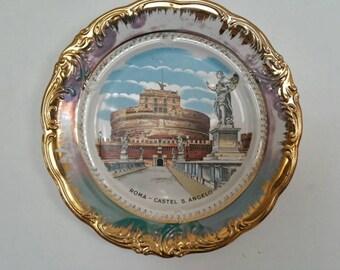 Vintage  Souvenir Plate Roma Castle S. Angelo