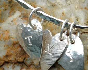 Sterling Silver Heart Charm Bangle - 3 finishes & personalised available