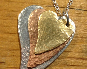 Silver & mixed metal Sea Shimmer Heart Necklace - made to order