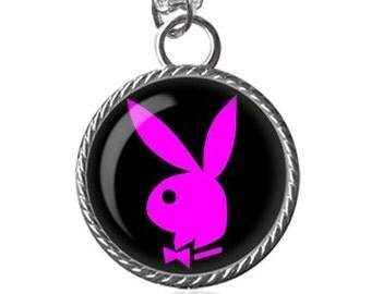 Playboy Bunny Necklace, Pink Rabbit Image Pendant Key Chain Handmade