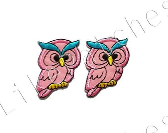 Set 2 pcs. Owl Patches - Pink Super Cute Owl - Sew / Iron On Patches Embroidered Applique Size 3.3cm.x4.1cm.