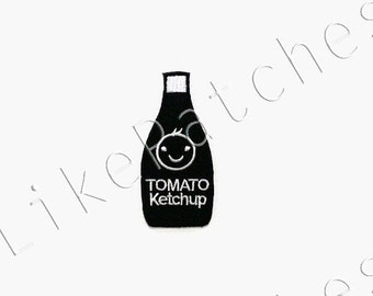 Tomato Ketchup Black Bottle Smiley Face Cute New Sew / Iron On Patch Embroidered Applique Size 3.7cm.x7.9cm.