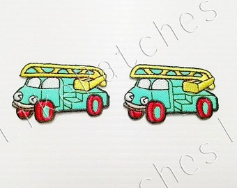 Set 2pcs. Fire Truck Patches - Happy Green Pastel Color Truck Cute Sew / Iron On Patches Size 5.1cm.x3.2cm.