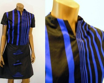 Blue Black Satin Silk Mod Dress Small
