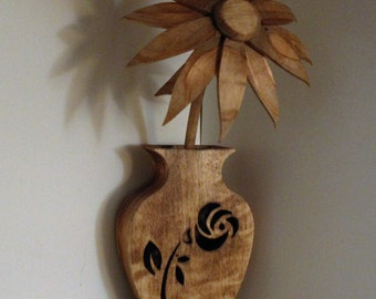 Wooden Vase and Flower