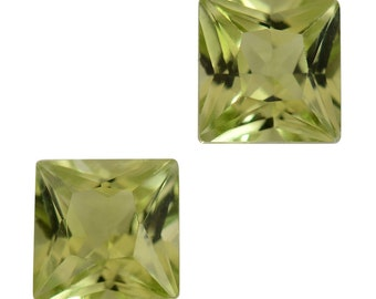 Hebei Peridot Loose Gemstones Set of 2 Square Cut 1A Quality 4mm TGW 0.70 cts.