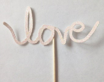 12 'love' Glitter Cupcake Toppers - Engagement Decorations - Bachelorette - Wedding - Hen Party - Valentines Day - Anniversary - Baby Shower