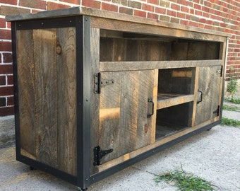 "Rustic Industrial weathered barn board entertainment center TV stand Reclaimed Wood 62"" (Natural Browns & Greys)"